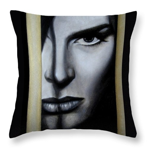 Woman Throw Pillow featuring the painting The Golden Cage by Lynet McDonald