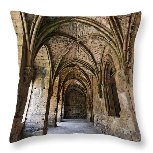 Cloisters Throw Pillow featuring the photograph The Gothic Cloisters Inside The Crusader Castle Of Krak Des Chevaliers Syria by Robert Preston