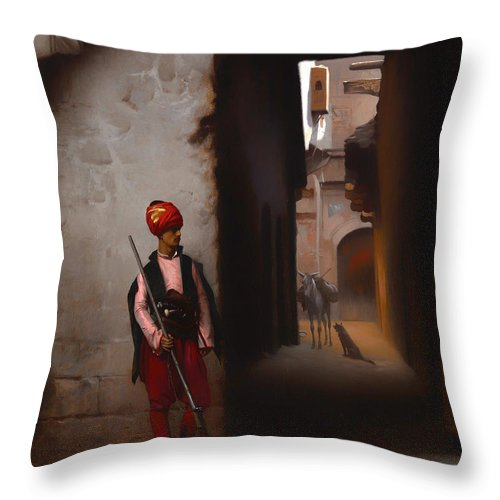 Painting Throw Pillow featuring the painting The Guard by Mountain Dreams