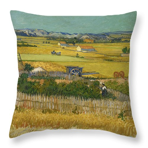 Vincent Van Gogh Throw Pillow featuring the painting The Harvest by Vincent van Gogh