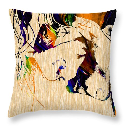 Heath Ledger Paintings Throw Pillow featuring the mixed media The Joker Heath Ledger Collection by Marvin Blaine