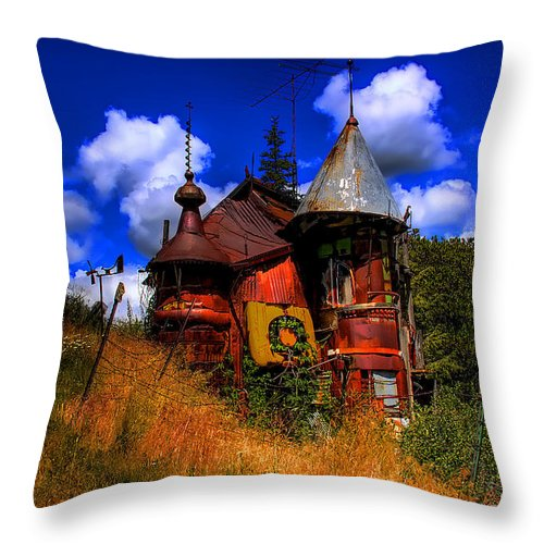 Junk Castle Throw Pillow featuring the photograph The Junk Castle by David Patterson