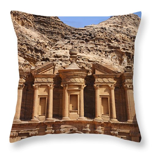 Ad Deir Throw Pillow featuring the photograph The Monastery At Petra In Jordan by Robert Preston