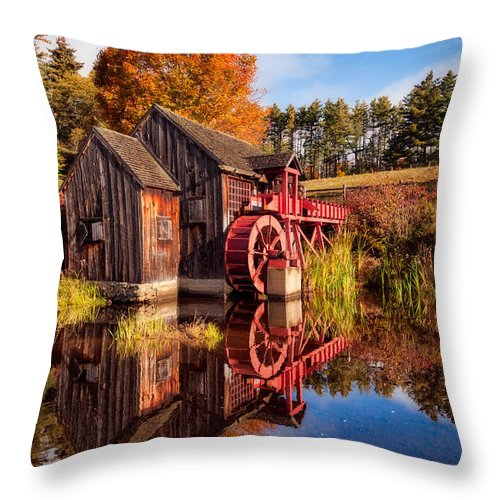 Grist Mill Throw Pillow featuring the photograph The Old Grist Mill by Michael Blanchette