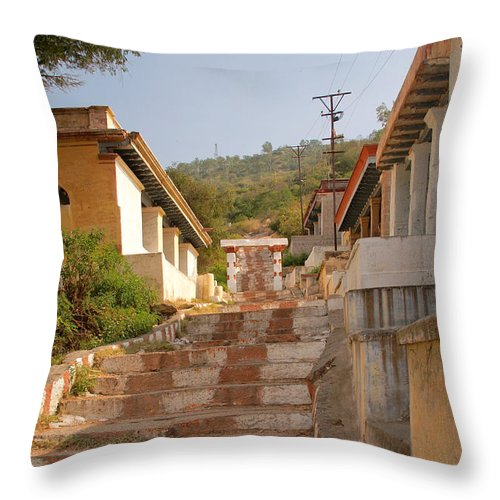 Chamundi Hill Throw Pillow featuring the digital art The Path To The Temple by Carol Ailles