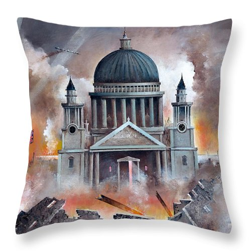Spitfire Throw Pillow featuring the painting The Pursuit by Ken Wood
