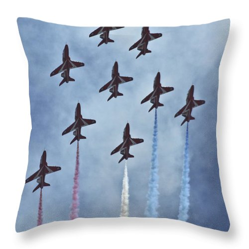 Red Arrows Throw Pillow featuring the digital art The Red Arrows by J Biggadike