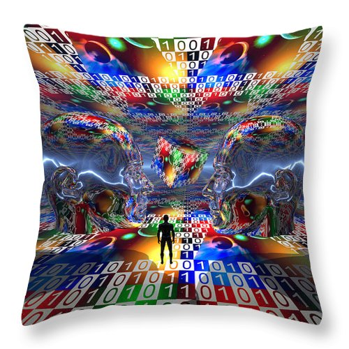 Vertical Throw Pillow featuring the digital art The Search For Extraterrestrial Life by Mark Stevenson
