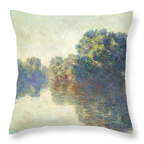 1897 Throw Pillow featuring the painting The Seine At Giverny by Claude Monet