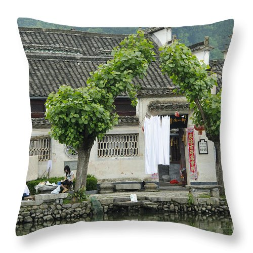 Asia Throw Pillow featuring the photograph The South Lake In Hongcun Village by John Shaw