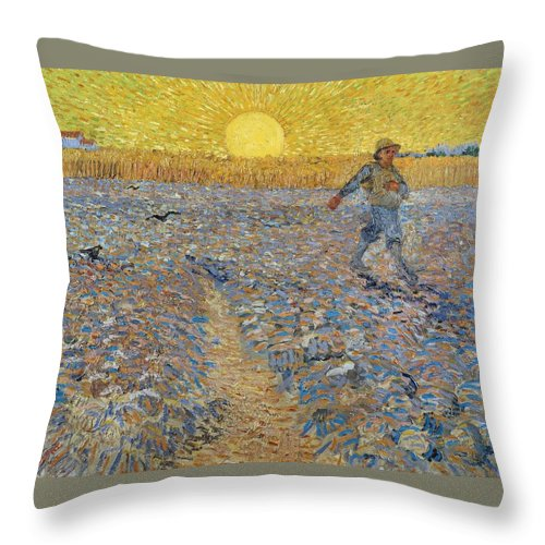 1888 Throw Pillow featuring the painting The Sower by Vincent van Gogh