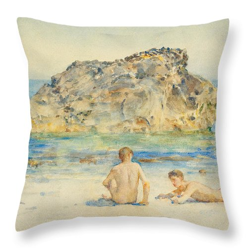 The Sunbathers Throw Pillow featuring the painting The Sunbathers by Henry Scott Tuke