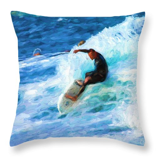 Surfer Throw Pillow featuring the photograph The surfer by Sheila Smart Fine Art Photography