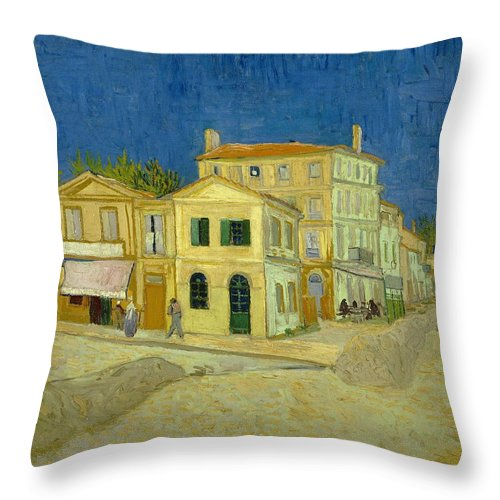1888 Throw Pillow featuring the painting The Yellow House by Vincent van Gogh