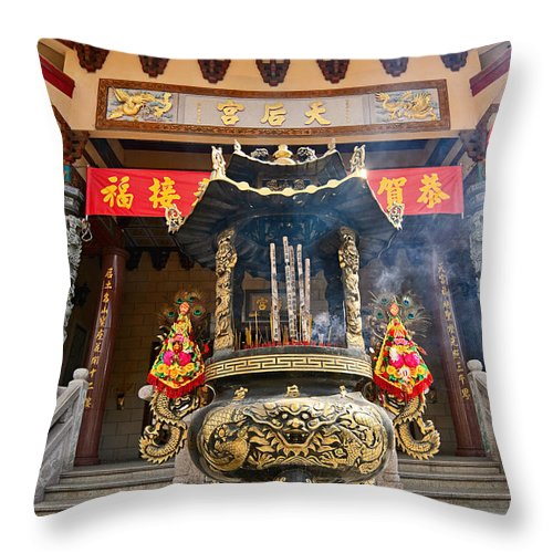 Taoist Throw Pillow featuring the photograph Thien Hau Temple A Taoist Temple In Chinatown Of Los Angeles. by Jamie Pham