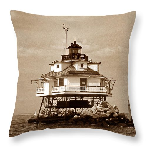 Lighthouses Throw Pillow featuring the photograph Thomas Point Shoal Lighthouse Sepia No. 2 by Skip Willits