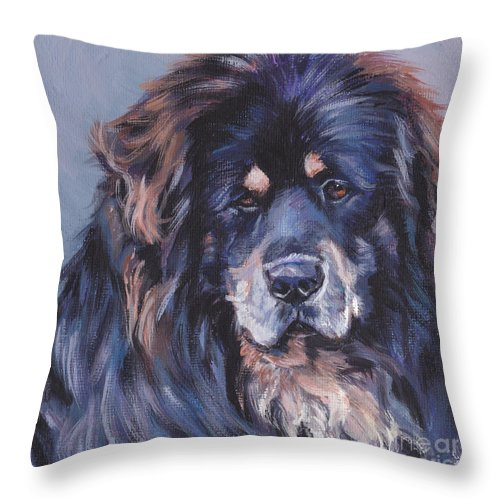 Tibetan Mastiff Throw Pillow featuring the painting Tibetan Mastiff by Lee Ann Shepard