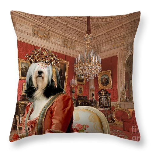 Tibetan Terrier Throw Pillow featuring the painting Tibetan Terrier Art Canvas Print by Sandra Sij