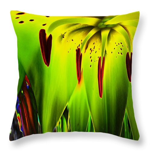 Floral Throw Pillow featuring the photograph Tigerlily by Pete Moyes