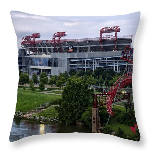 Titans Throw Pillow featuring the photograph Titans Lp Field by Diana Powell