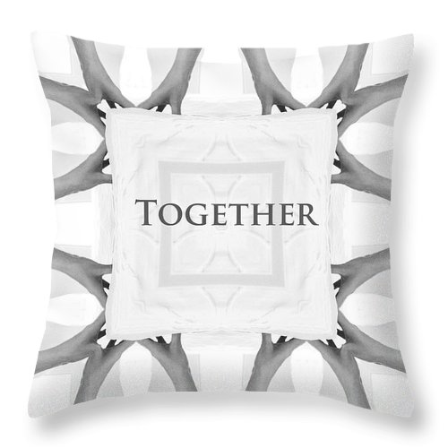 Together Hands Arms Hand Arm People Help Helping Expressionism Digital Art Photograph Black White Throw Pillow featuring the photograph Together by Steve K