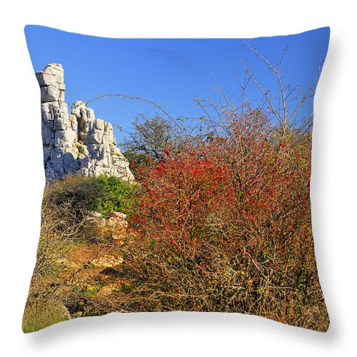Blue Throw Pillow featuring the photograph Torcal Natural Park by Guido Montanes Castillo