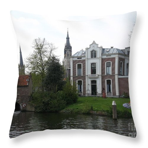 Town Canal Throw Pillow featuring the photograph Town Canal - Delft by Christiane Schulze Art And Photography