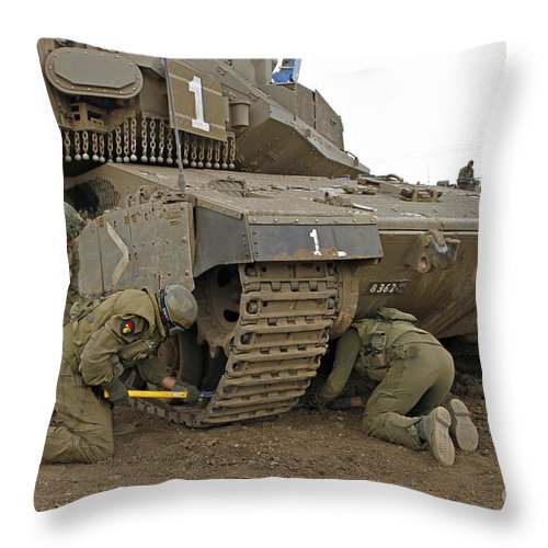 Battletank Throw Pillow featuring the photograph Track Replacement On A Israel Defense by Ofer Zidon