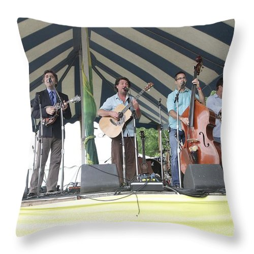 Performing Throw Pillow featuring the photograph Travelin Mccourys With Keller Williams by Concert Photos