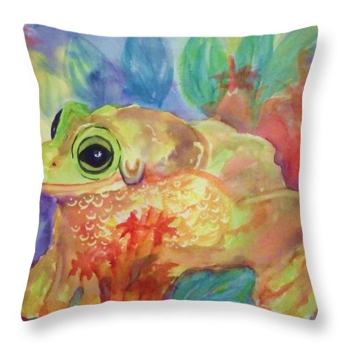 Frog Throw Pillow featuring the painting Tree Frog In Tropical Splendor by Ellen Levinson