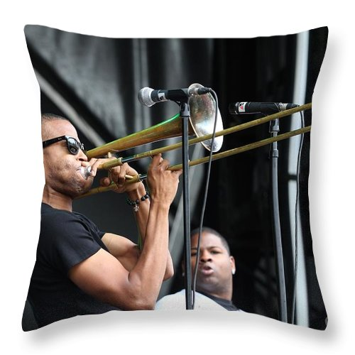 Brass Throw Pillow featuring the photograph Musician Trombone Shorty by Concert Photos