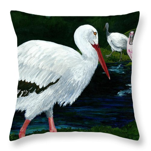 Pink Spoon Bill Throw Pillow featuring the painting Tropical Birds by Carlene Salazar