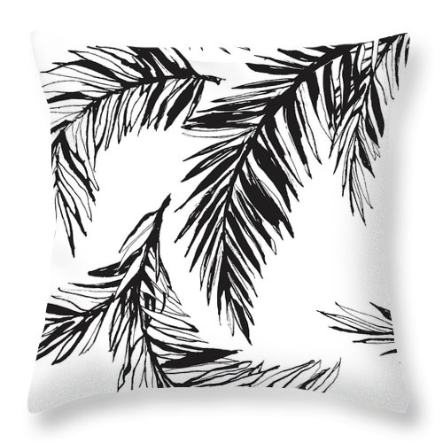 Tropical Rainforest Throw Pillow featuring the digital art Tropical Jungle Floral Seamless by Sv sunny