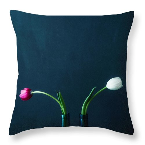 Mother's Day Throw Pillow featuring the photograph Tulip Still Life For Mothers Day by Catlane