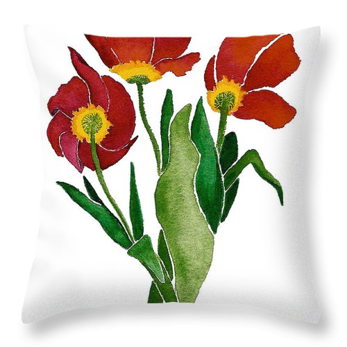 Three Tulip Flowers Throw Pillow featuring the painting Tulip Trio by Nan Wright