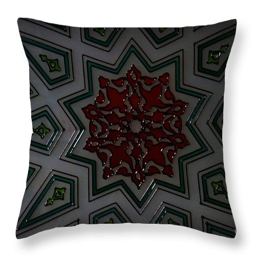 Turkish Tile Design Throw Pillow featuring the digital art Turkish Tile Design by Celestial Images