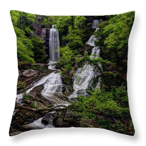 Waterfall Throw Pillow featuring the photograph Twin Falls by Steven Faucette