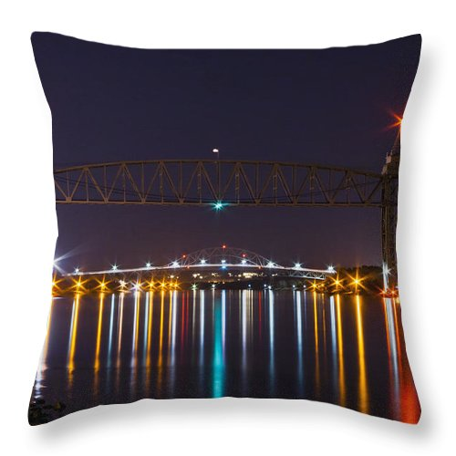 Railroad Bridge Throw Pillow featuring the photograph Two Bridges At Night by Dennis Coates