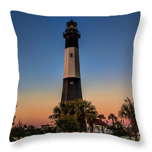 Tybee Island Lighthouse Throw Pillow featuring the photograph Tybee Light Sunset by Diana Powell