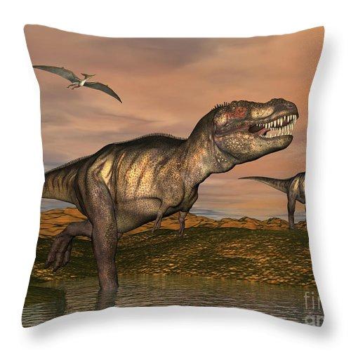 Dinosaur Throw Pillow featuring the digital art Tyrannosaurus Rex Dinosaurs by Elena Duvernay