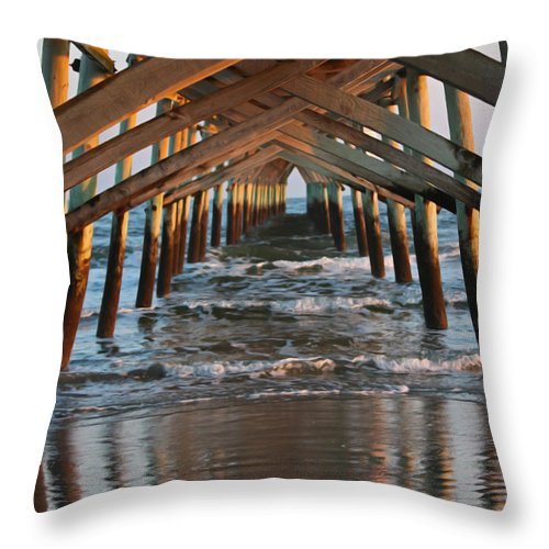 Pier Throw Pillow featuring the photograph Under The Pier II by Suzanne Gaff