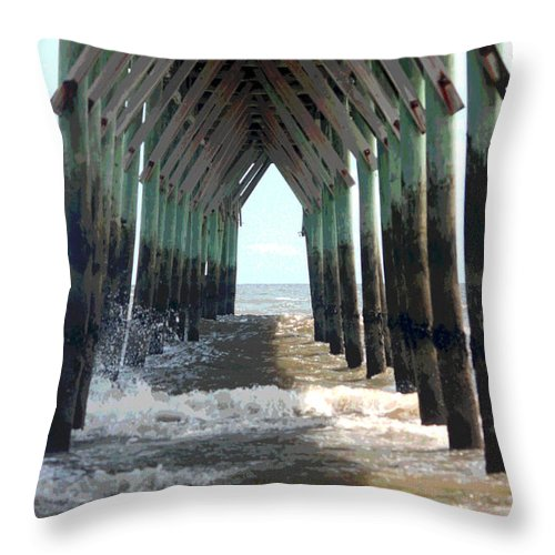 Pier Throw Pillow featuring the photograph Under The Pier by Suzanne Gaff