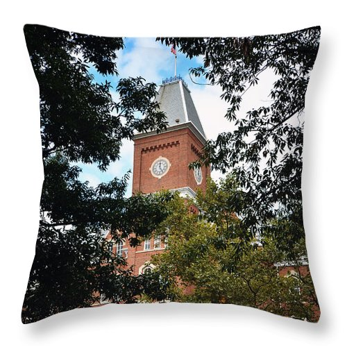 The Ohio State University Throw Pillow featuring the photograph University Hall by Rachel Barrett