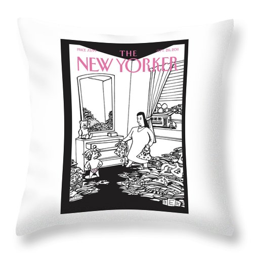 Clothes Throw Pillow featuring the painting New Yorker September 26th, 2011 by Bruce Eric Kaplan