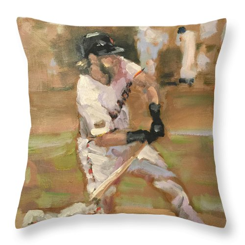 Sf Giants Throw Pillow featuring the painting Untitled 1 by Darren Kerr