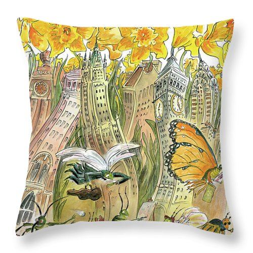 Blossom Throw Pillow featuring the painting Blossom Time by Edward Sorel