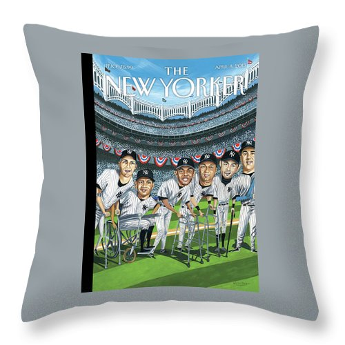 Yankees Throw Pillow featuring the painting New Yorker April 8th, 2013 by Mark Ulriksen