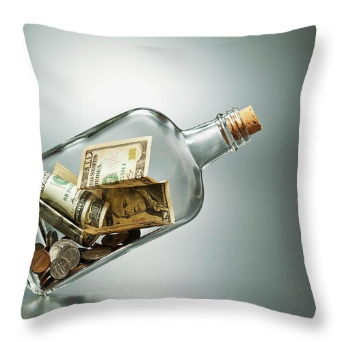 Coin Throw Pillow featuring the photograph Us Dollar Banknotes In A Bottle by Yuji Sakai