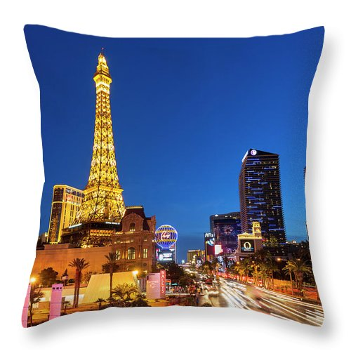 Las Vegas Replica Eiffel Tower Throw Pillow featuring the photograph Usa, Nevada, Las Vegas, Paris Las Vegas by Sylvain Sonnet
