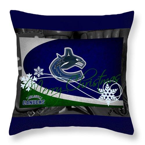 Canucks Throw Pillow featuring the photograph Vancouver Canucks Christmas by Joe Hamilton